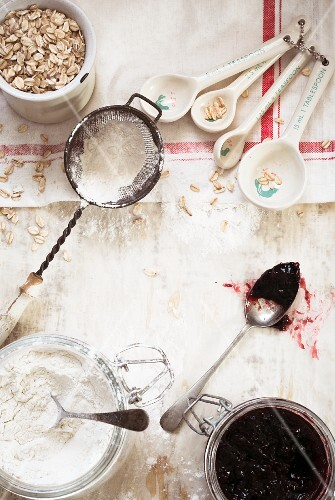 Baking ingredients on a white surface