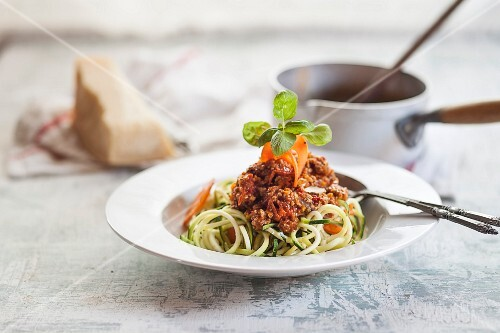 Spaghetti made from courgette with bolognese sauce
