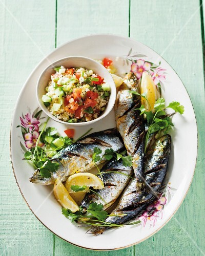 Grilled sardines with couscous salad