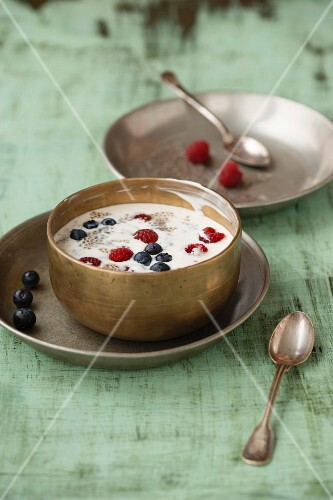Vanilla yoghurt with chia seeds, blueberries and raspberries