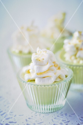 Avocado cream with lemon topped with whipped cream