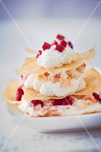 Mille Feuilles with cream, beetroot and crab meat