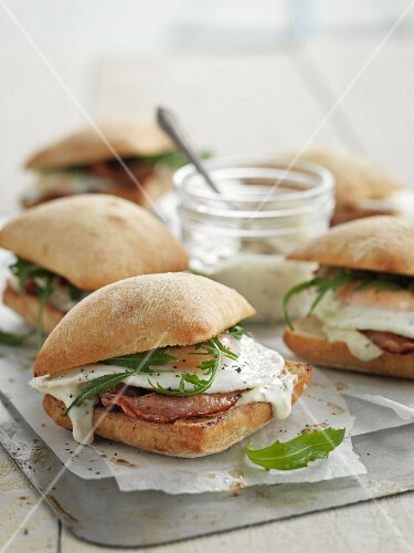 Ciabatta with bacon and fried egg
