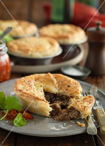 Beef and mushroom pie, sliced