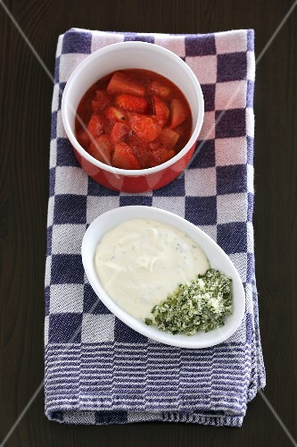 Strawberry compote, vanilla yoghurt and candied basil