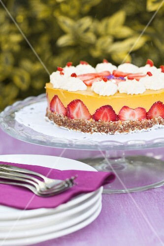 Vegan strawberry and coconut cake on a garden table