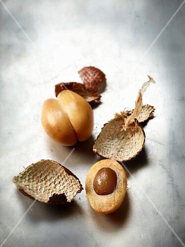 Salak, shelled and cut open