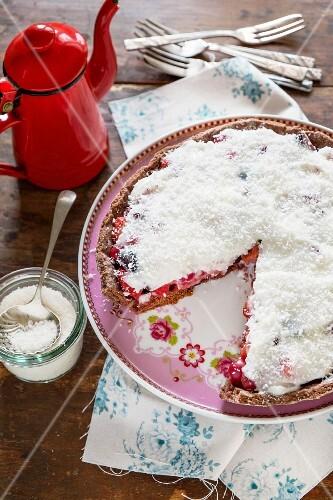 Strawberry and cherry crostata with coconut milk cream