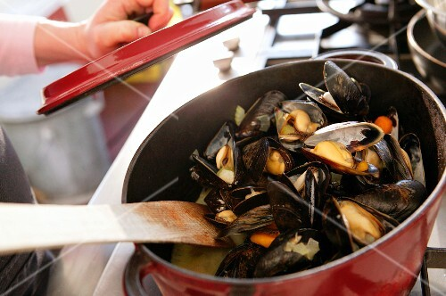 Steamed mussels in a saucepan