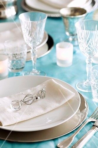 A festive table setting for Christmas