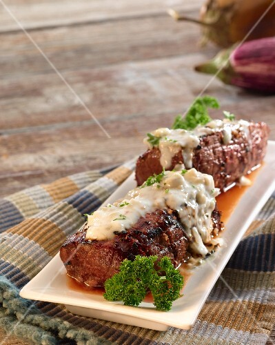 Beef fillet with a blue cheese sauce