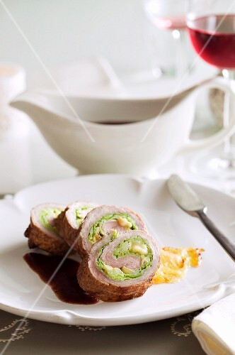 Stuffed veal roulade with gravy