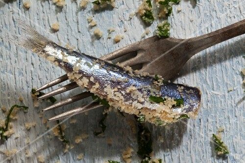 A sardine coated with breadcrumbs and parsley