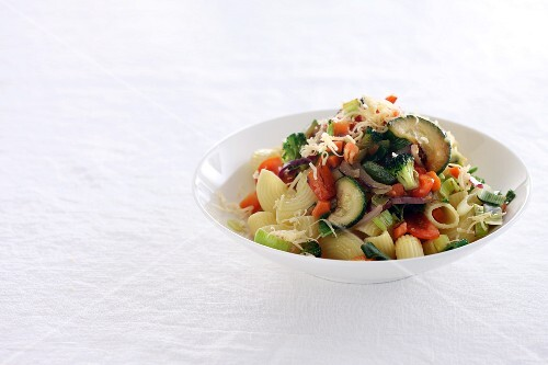 Pasta with vegetables and Parmesan cheese