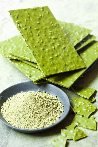 Matcha tea chocolate with sesame seeds