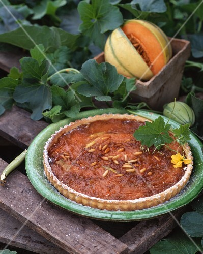Melon tart with slivered almonds