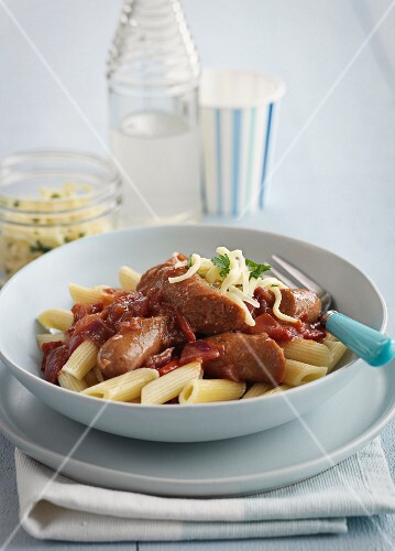Penne with chorizo and cheese