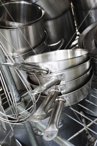 Various pots and pans in a commercial kitchen