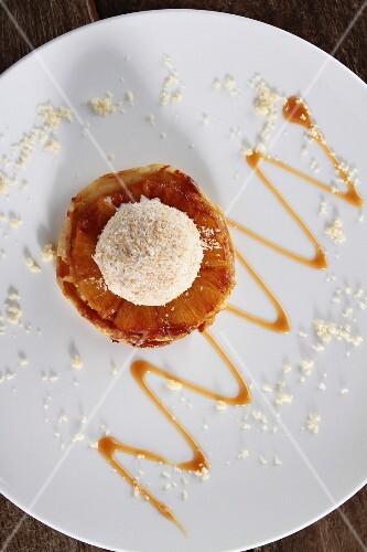 Pineapple tarte tatin with coconut ice cream