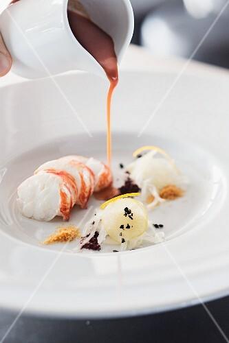 Tarhana with crayfish as an appetiser