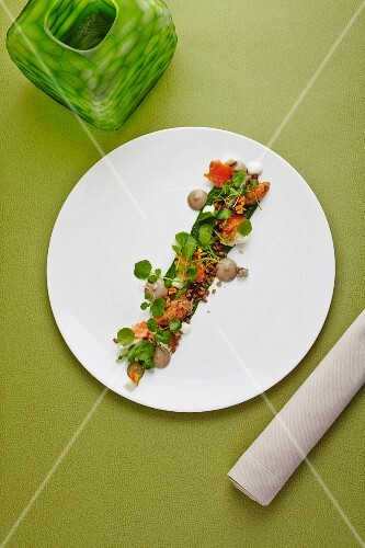 Salmon with watercress, apples and sunflower seeds