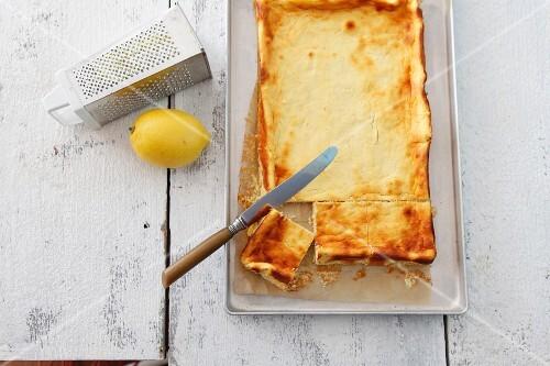 A rectangular cheesecake