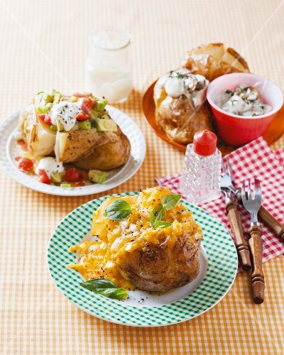 Baked potatoes with three different toppings