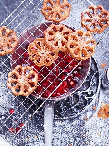 Dripping waffles with pear and cranberry compote