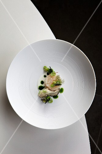 Breton seabass with oysters, dill and limes