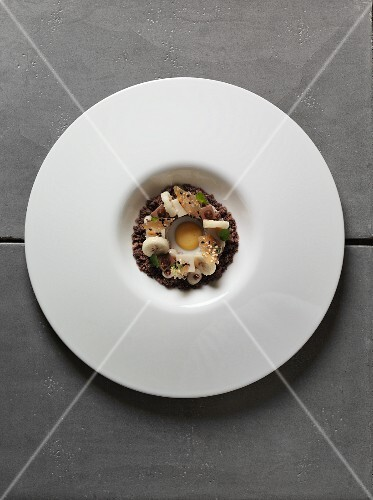 Nougat with marble cake, bananas and egg liqueur