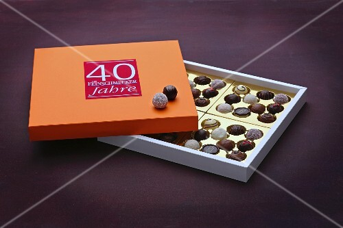 A box of various pralines for a 40th anniversary