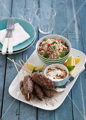 Pork kofta with couscous salad and a yoghurt dip