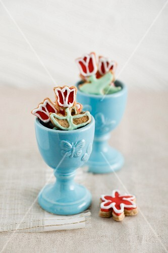 Tulip biscuits in egg cups
