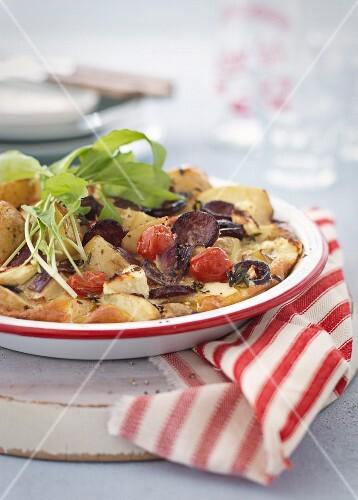 Frittata with chorizo and cherry tomatoes