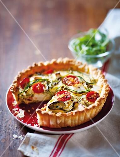 Tomato and courgette quiche