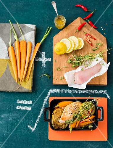Lemon chicken with carrots