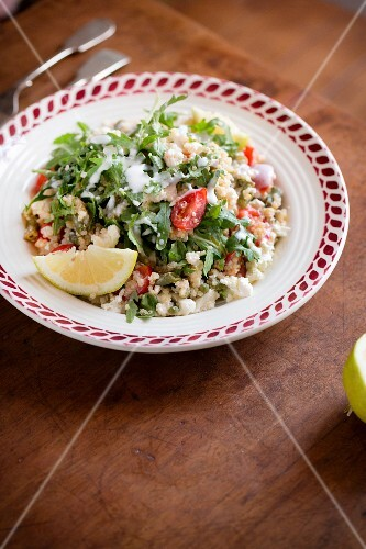 Quinoa salad with feta cheese and rocket