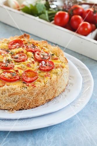 Cheese and tomato kadaif quiche