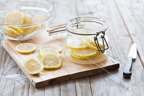 Salted lemons in glasses