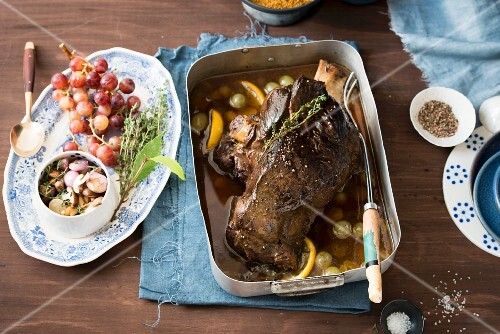 Leg of venison with grapes and lemon