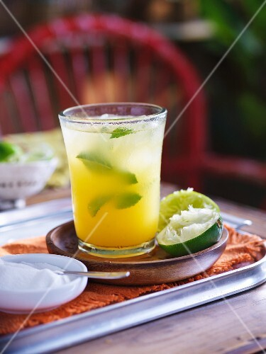 A lime drink with mint (South America)