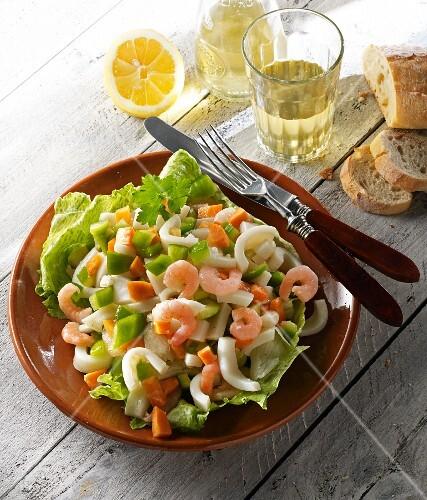 Seafood salad with calamari and shrimps
