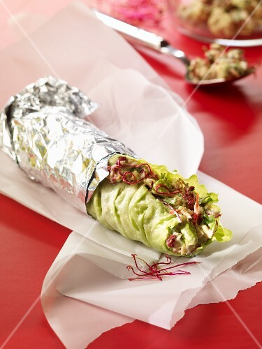 A vegetarian iceberg lettuce wrap