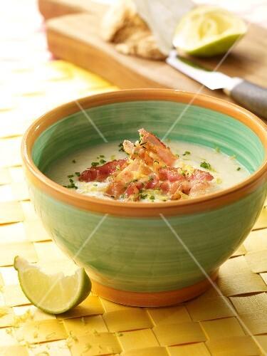 Lemony celery soup with bacon