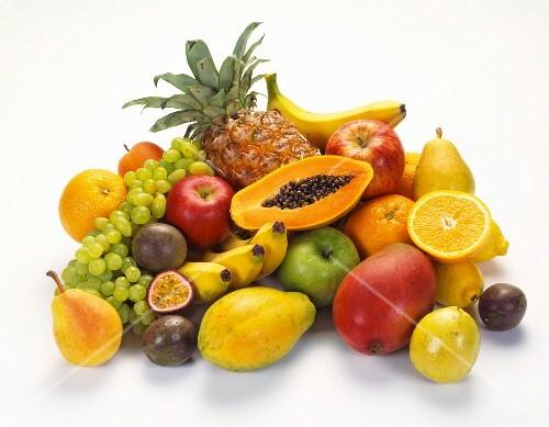 A large arrangement of fruit