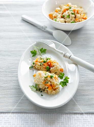 Millet risotto with colourful vegetables