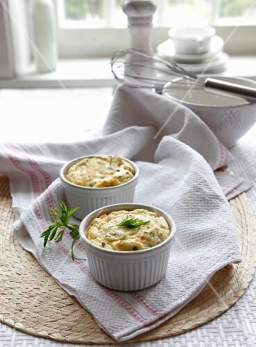 Herb soufflé with nutmeg