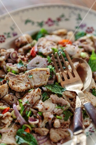 Lao larb with Mekong fish (Vientiane, Laos)