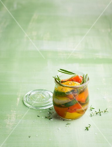 Pickled vegetables with fresh herbs
