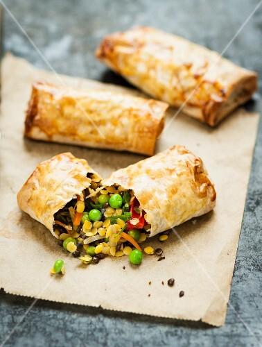 Lentil and vegetable rolls